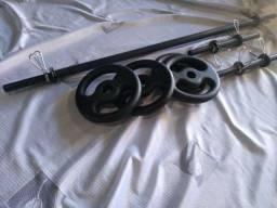 kit novo barras e anilhas