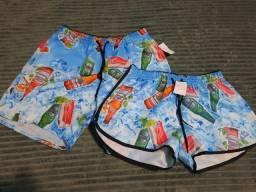 Promoção! Kit Casal kit Mozão Shorts Praia Igual Shorts Conjunto Vestido