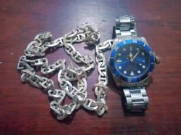 Corrente de prata + relógio rolex