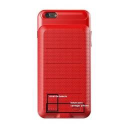 Capa Carregadora Para iPhone 6 Plus 6s Plus 3600mah Backpack Vermelha XB09