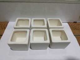 Kit 6 Mini Vasinhos Quadrados Planta Suculenta Cerâmica Branco Para Pintar