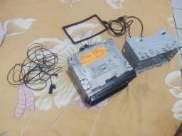 Central multimídia 2 Din TV DVD Bluetooth cabo recheado entrada microfone todo completo