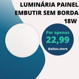 PAINEL PLAFON LED 18W BORDA INFINITA EMBUTIR REDONDO BIVOLT