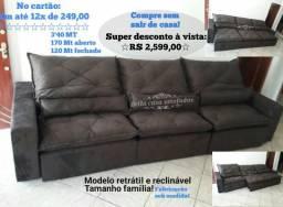 Sofá retrátil e reclinável tamanho familia