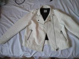 Jaqueta branca de couro feminino