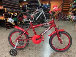 Bicicleta Infantil aro 16 Masculina Racer kids - vermelha NF e garantia