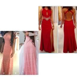 2 vestidos festa/eventos, vermelho e rosa bebê