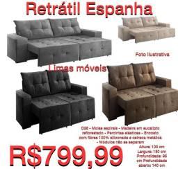 Sofá Retrátil Espanha - R$ 799,99 - Frete Grátis/Consulte