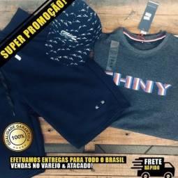 Kit : Bermuda Moletom + Camiseta estampada + Boné de Tirinha 10% Desconto