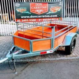 Carretinha reboque nova 1,20 x 2m com cesta