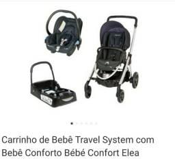 Carrinho + base + bebe conforto elea
