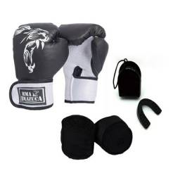 PROMOÇÃO Kit Luva Boxe 12OZ + Bandagem Elástica + Protetor Bucal
