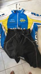 Camisa de ciclismo manga longa + shorts