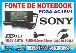 Carregador Sony PCGA-AC19V1 19.5V 4.07A Plug 6.0mm x 4.3mm