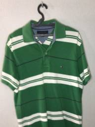Camisa polo Tommy Hilfiger verde e branca