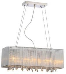 Pendente Rammer 70cm Retangular 5 Lamp Prata Novo lacrado