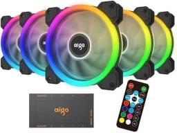 Kit c/ 5 fans Aigo Rgb DR12 5in1, 5x120mm, novo (lacrado) , Nf e garantia