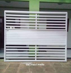 Portão galvanizado branco