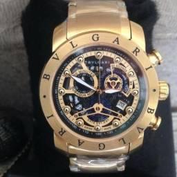 d9aad43430e Relógio Bulgari Squeleton Gold Luxo Novo