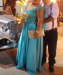 Vendo vestido de Festa tamanho 44 na cor azul Tífane