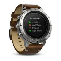 Relogio Smartwatch Garmin Fenix Chronos Leather (010-01957-00) Aco / Couro