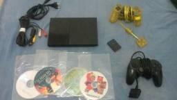 Ps2 com dois controle e jogos