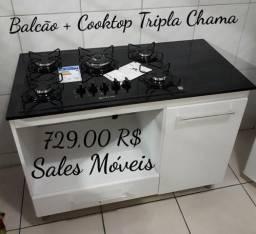 Promoção// Balcão 1,05 + Cooktop Atlas Tripla Chama 5 bcs NOVO NA CAIXA