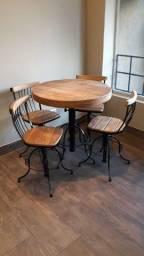 Conjunto 1 Mesas + 4 Cadeiras - Madeira Demolição Rústico