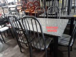 Conj mesa c/ 6 cadeiras tubolares. 1,40 x 0,80 L. Pçs novas