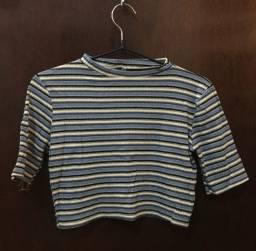 Blusa Cropped Listrada Renner - Azul