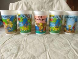Lote com 5 copos Simpsons Pepsi, década de 90