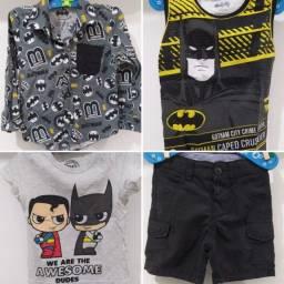 Lote de roupinhas bebê Batman 1 ano