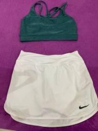 Top e shorts-saia de academia