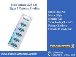 Pilha Bateria A23 12v Elgin 5 Cartelas Alcalina