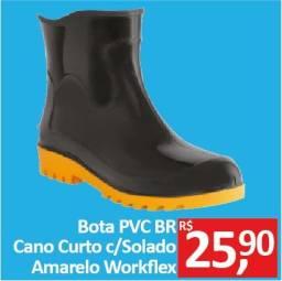 Bota PVC Preta cano curto com solado amarelo - Workflex - Promoção R$ 25,90