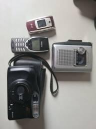 Raridades Toca Fitas gravador, 2 celular e 1 câmera