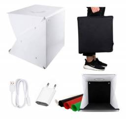 Vendo Mini Estúdio Fotográfico 40cm De Led + 4 Fundos + Cabo USB de 2mts +Tomada