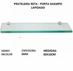 Prateleira de vidro incolor 8mm lapidado - porta shampoo - 30x10cm
