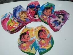 Bermudinhas feminina personagens infantil
