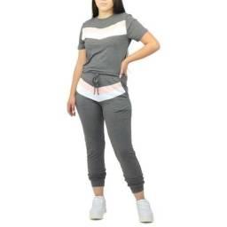 Conjuntos Femininos -  Comfy Viscolycra Blusas Calças Listra - Dpontes.  Aproveite!