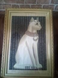 Raridade...Quadro gata papiro egípcio brilha a noite