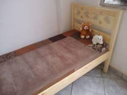 cama de solteiro 2 corações em madeira maciça de reflorestamento