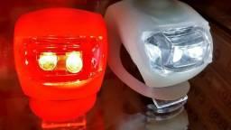 Kit Pisca bicicletas em silicone luz branca e vermelha