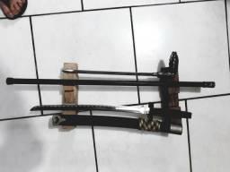Espada ninja sem fio mais bengala com lâmina oculta