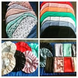 Toucas,toucas de cetim,toalhas ,fronhas e cosmeticos