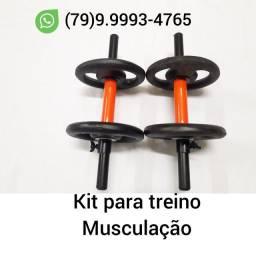 Kit para treinar Musculação ( Barras de 40 cms + Anilhas )