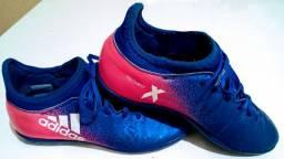 Chuteira/Tênis Society Adidas X 16.3 TF - Juvenil - Original - Azul e Rosa - n.º 33