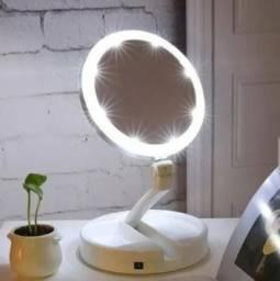Ring Light com espelho zoom 10x Espelho com led Porta maquiagem
