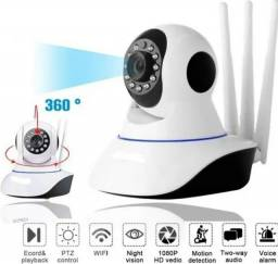 Camera Ip Ultra Hd Wifi Controle Pelo Celular Visao Noturna Sensor de Movimento 3 Antenas