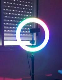 Kit Ring Light RGB + tripé 2m + suporte de celular
